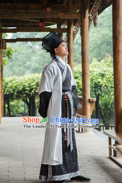 Traditional Chinese Han Dynasty Nobility Childe Hanfu Costume Half-Arm Shawl Long Robe, China Ancient Scholar Clothing Complete Set for Men