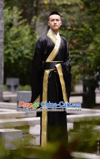 Traditional Chinese Han Dynasty Nobility Childe Hanfu Costume Black Long Robe, China Ancient Minister Clothing for Men
