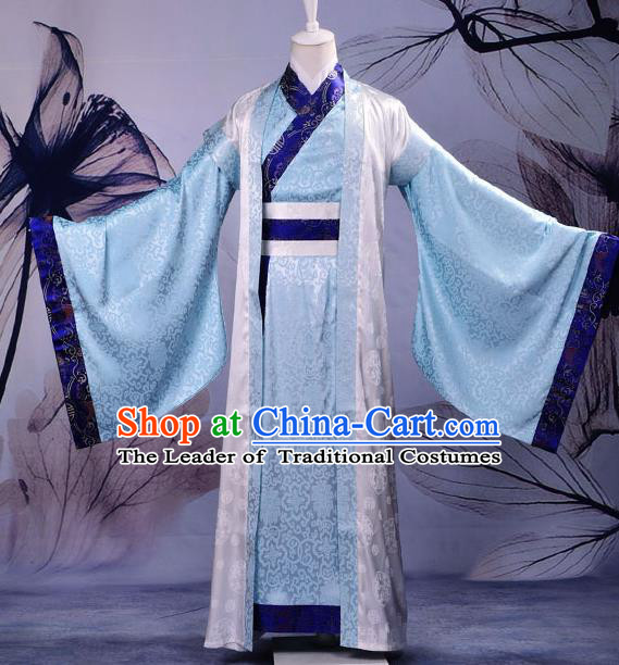 Traditional Chinese Han Dynasty Nobility Childe Hanfu Costume Blue Long Robe, China Ancient Minister Scholar Clothing for Men