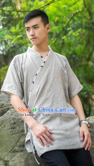 Traditional Ancient Chinese National Costume Hanfu Grey Shirts, China Tang Suit Upper Outer Garment Clothing for Men