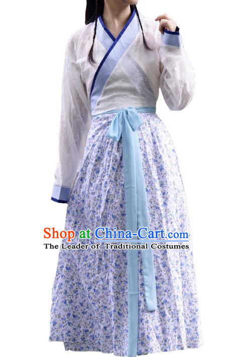Traditional Chinese Han Dynasty Young Lady Costume, China Ancient Hanfu Purple Dress Princess Clothing for Women
