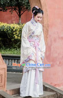 Traditional Chinese Han Dynasty Young Lady Costume, China Ancient Hanfu Dress Imperial Concubine Embroidery Clothing for Women