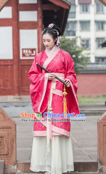 Traditional Chinese Han Dynasty Palace Princess Wide Sleeve Costume, China Ancient Hanfu Watermelon Red Dress Imperial Concubine Embroidery Clothing for Women