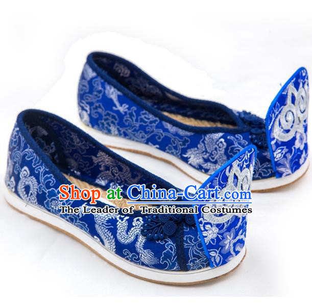 Traditional Chinese Ancient Cloth Shoes, China Princess Satin Shoes Hanfu Handmade Embroidery Become Warped Head Shoe for Women