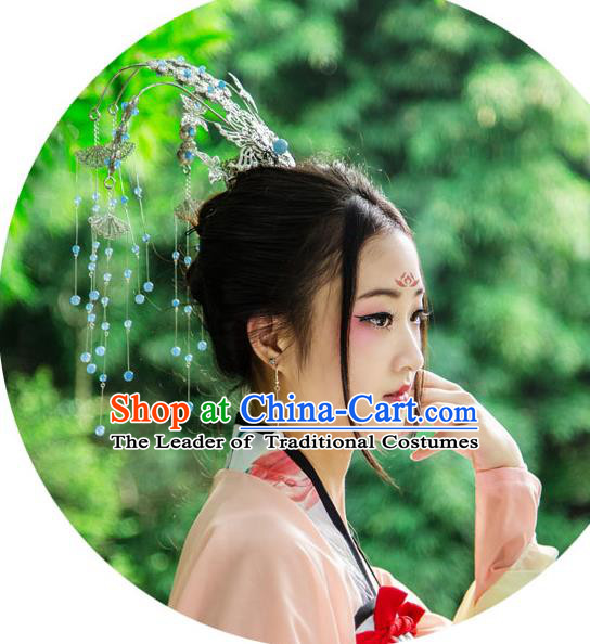 Traditional Handmade Chinese Ancient Classical Hair Accessories Bride Wedding Phoenix Coronet Hair Jewellery, Hair Fascinators Hairpins for Women