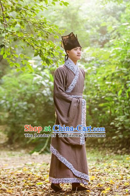 Traditional Chinese Han Dynasty Nobility Childe Hanfu Costume, China Ancient Scholar Long Robe Cloak Clothing for Men