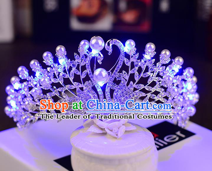 Top Grade Handmade Chinese Classical Hair Accessories Baroque Style Shine Crystal Queen Swan Royal Crown, Hair Sticks Hair Jewellery Hair Clasp for Women
