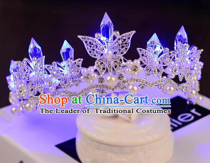 Top Grade Handmade Chinese Classical Hair Accessories Baroque Style Shine Crystal Queen Butterfly Royal Crown, Hair Sticks Hair Jewellery Hair Clasp for Women