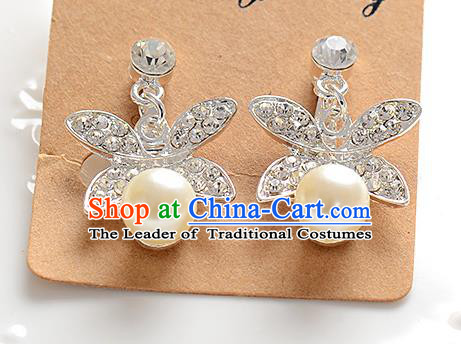 Top Grade Handmade Chinese Classical Jewelry Accessories Baroque Style Crystal Pearls Wedding Earrings Bride Eardrop for Women