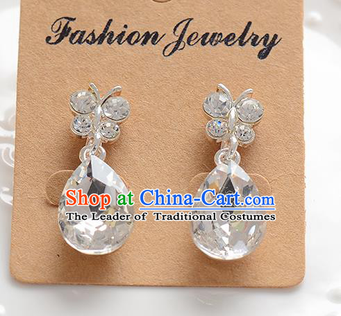 Top Grade Handmade Chinese Classical Jewelry Accessories Baroque Style Crystal Butterfly Wedding Earrings Bride Eardrop for Women
