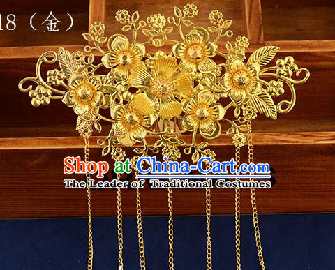 Traditional Handmade Chinese Ancient Classical Hair Accessories Xiuhe Suit Golden Tassel Hair Comb, Hair Sticks Hair Jewellery Hair Fascinators for Women