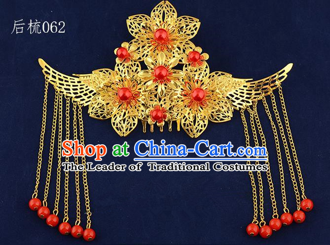 Traditional Handmade Chinese Ancient Classical Hair Accessories Xiuhe Suit Golden Flowers Tassel Hair Comb, Hair Sticks Hair Jewellery Hair Fascinators for Women