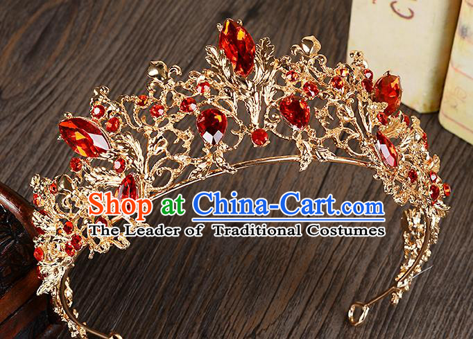 Top Grade Handmade Chinese Classical Hair Accessories Baroque Style Red Crystal Princess Royal Crown, Hair Sticks Hair Jewellery Hair Coronet for Women