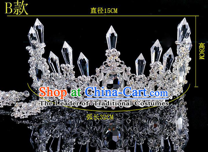 Top Grade Handmade Chinese Classical Hair Accessories Baroque Style Crystal Princess Wedding Royal Crown, Bride Hair Sticks Hair Jewellery Hair Coronet for Women