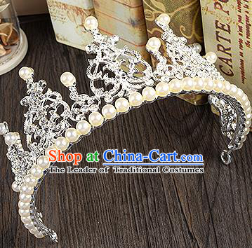 Top Grade Handmade Chinese Classical Hair Accessories Baroque Style Extravagant Crystal Pearls Queen Royal Crown, Hair Sticks Hair Jewellery Hair Clasp for Women