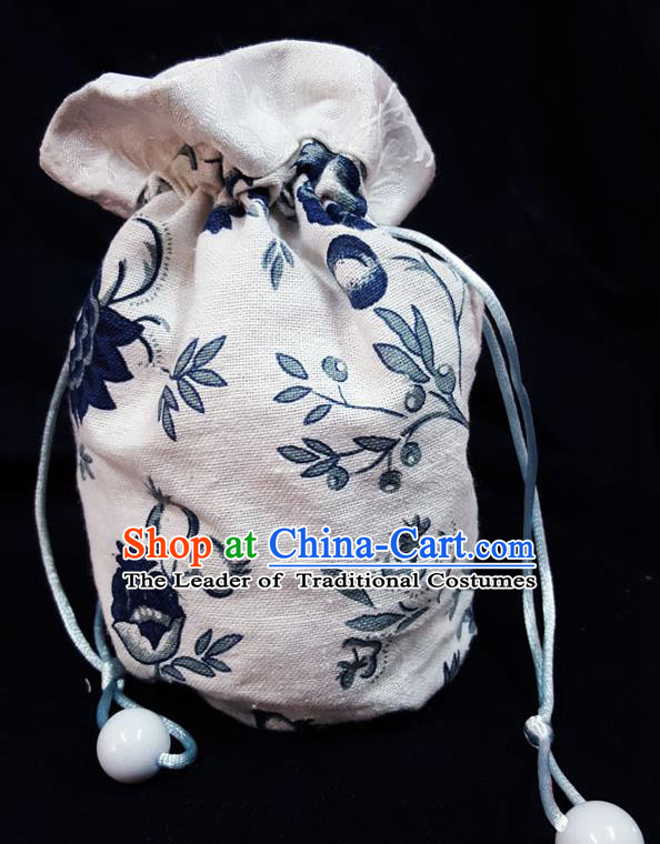 Traditional Handmade Chinese Ancient Young Lady Pouch White Linen Handbags, China Hanfu Embroidery Sachet for Women