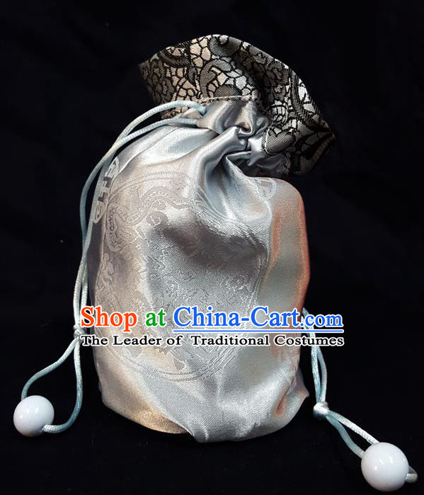 Traditional Handmade Chinese Ancient Young Lady Pouch White Satin Handbags, China Hanfu Embroidery Sachet for Women