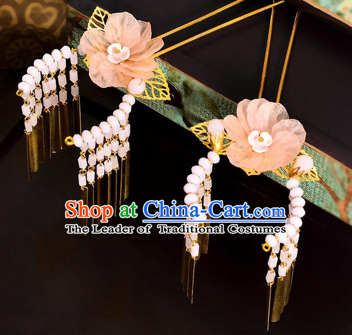 Traditional Handmade Chinese Ancient Classical Hair Accessories Barrettes Hanfu Hairpin Pink Silk Flower Tassel Step Shake, Bride Hair Fascinators Hairpins for Women
