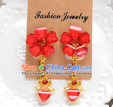 Top Grade Handmade Chinese Classical Jewelry Accessories Baroque Style Wedding Red Flower Earrings Bride Eardrop for Women