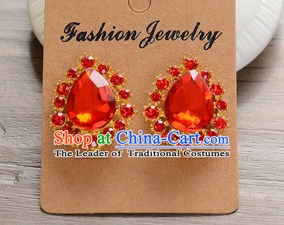 Top Grade Handmade Chinese Classical Jewelry Accessories Baroque Style Wedding Red Crystal Ear Stud Earrings Bride Eardrop for Women