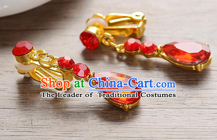 Top Grade Handmade Chinese Classical Jewelry Accessories Baroque Style Wedding Red Crystal Earrings Bride Eardrop for Women