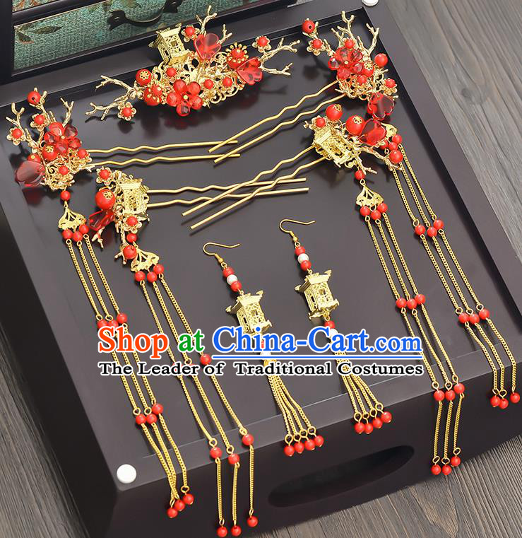 Traditional Handmade Chinese Ancient Classical Hair Accessories Xiuhe Suit Red Beads Tassel Hairpin Step Shake Phoenix Coronet Complete Set, Hair Sticks Hair Jewellery Hair Fascinators for Women