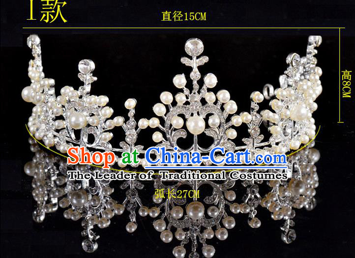 Top Grade Handmade Chinese Classical Hair Accessories Baroque Style Pearls Crystal Princess Wedding Royal Crown, Bride Hair Sticks Hair Jewellery Hair Coronet for Women
