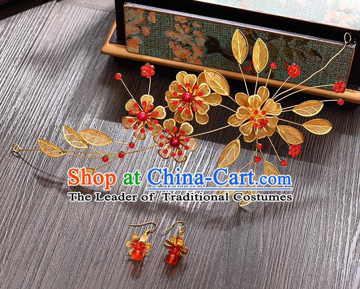 Traditional Handmade Chinese Ancient Classical Hair Accessories Xiuhe Suit Golden Flowers Hair Clasp, Hair Sticks Hair Jewellery Hair Fascinators for Women