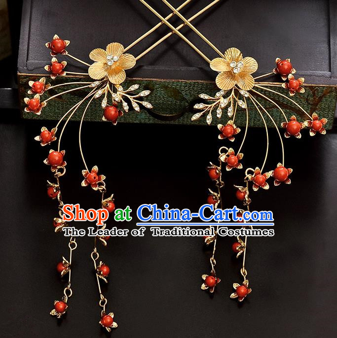 Traditional Handmade Chinese Ancient Classical Hair Accessories Barrettes Hanfu Hairpin Golden Flower Tassel Step Shake, Bride Hair Fascinators Hairpins for Women