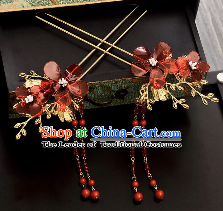 Traditional Handmade Chinese Ancient Classical Hair Accessories Barrettes Hanfu Hairpin Red Flower Tassel Step Shake, Bride Hair Fascinators Hairpins for Women