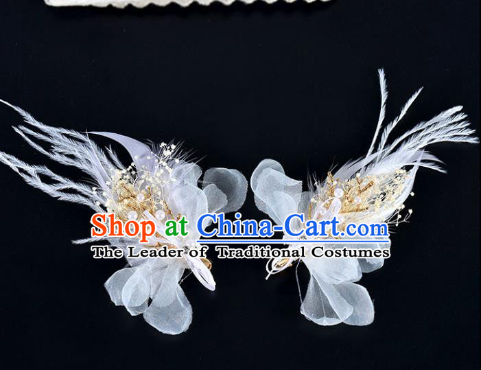 Top Grade Handmade Chinese Classical Hair Accessories Baroque Style Wedding White Feather Hair Sticks, Bride Hair Claw Hair Clasp for Women