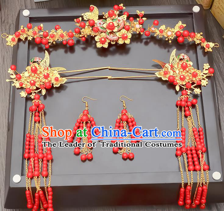 Traditional Handmade Chinese Ancient Classical Hair Accessories Xiuhe Suit Red Beads Tassel Hairpin Phoenix Coronet Complete Set, Step Shake Hair Sticks Hair Jewellery Hair Fascinators for Women