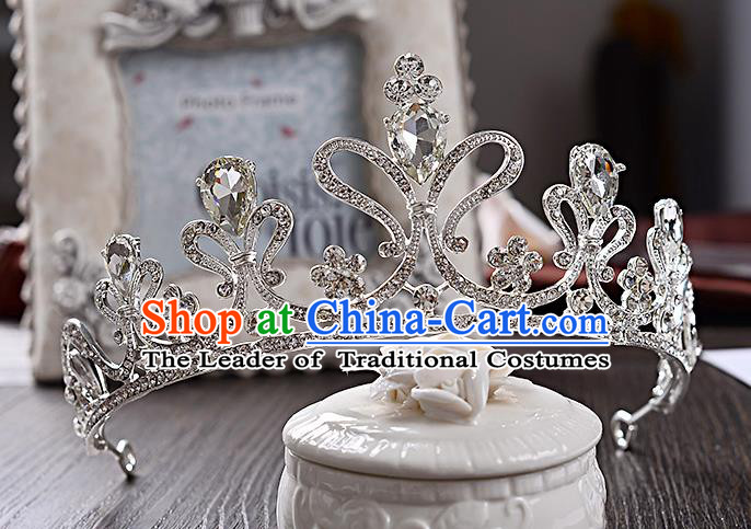 Top Grade Handmade Chinese Classical Hair Accessories Baroque Style Crystal Wedding Royal Crown, Bride Princess Hair Jewellery Hair Coronet for Women