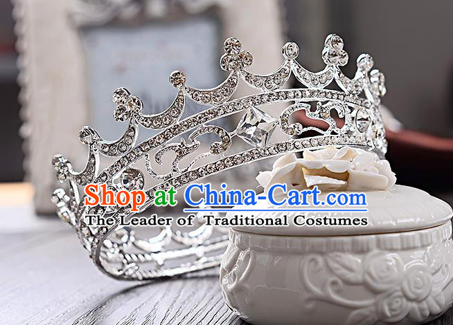 Top Grade Handmade Chinese Classical Hair Accessories Baroque Style Crystal Round Wedding Royal Crown, Bride Princess Hair Jewellery Hair Coronet for Women