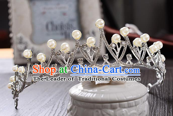 Top Grade Handmade Chinese Classical Hair Accessories Baroque Style Crystal Pearls Wedding Royal Crown, Bride Princess Hair Jewellery Hair Coronet for Women