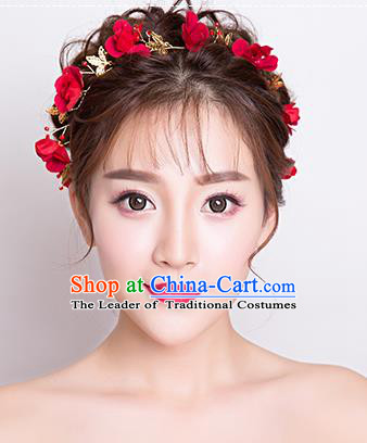 Top Grade Handmade Chinese Classical Hair Accessories Baroque Style Wedding Red Flowers Headband Bride Hair Clasp for Women