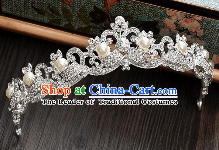 Top Grade Handmade Chinese Classical Hair Accessories Baroque Style CZ Diamond Pearls Wedding Royal Crown, Bride Princess Hair Jewellery Hair Clasp for Women
