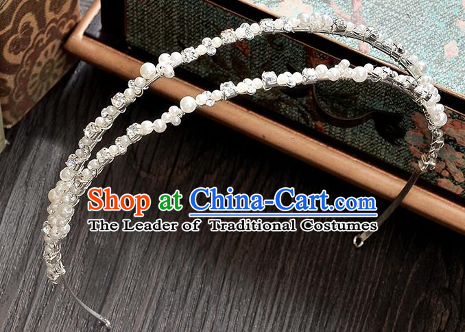 Top Grade Handmade Chinese Classical Hair Accessories Baroque Style Pearls Wedding Royal Crown, Bride Princess Hair Jewellery Hair Clasp for Women
