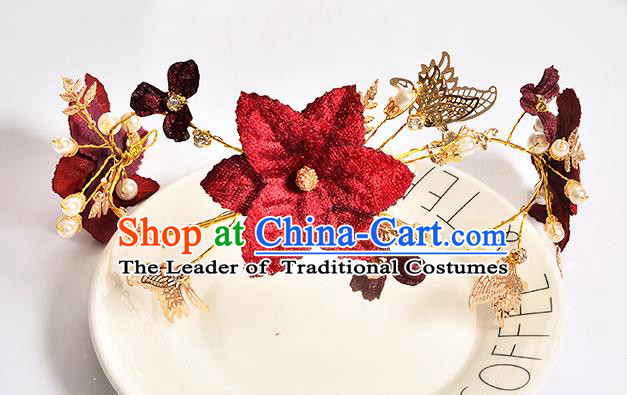 Top Grade Handmade Chinese Classical Hair Accessories Baroque Style Wedding Red Butterfly Flowers Headband Bride Hair Clasp for Women