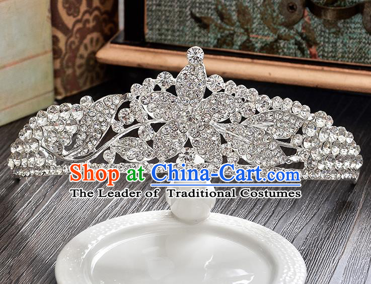 Top Grade Handmade Chinese Classical Hair Accessories Baroque Style CZ Diamond Flowers Wedding Royal Crown, Bride Princess Hair Jewellery Hair Clasp for Women