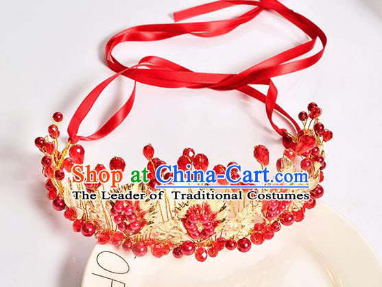 Top Grade Handmade Chinese Classical Hair Accessories Baroque Style Wedding Red Beads Crown Headband Bride Hair Clasp for Women