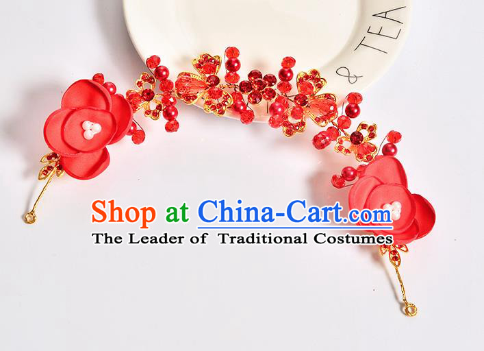 Top Grade Handmade Chinese Classical Hair Accessories Baroque Style Wedding Red Flowers Hair Stick Headband Bride Hair Claw for Women