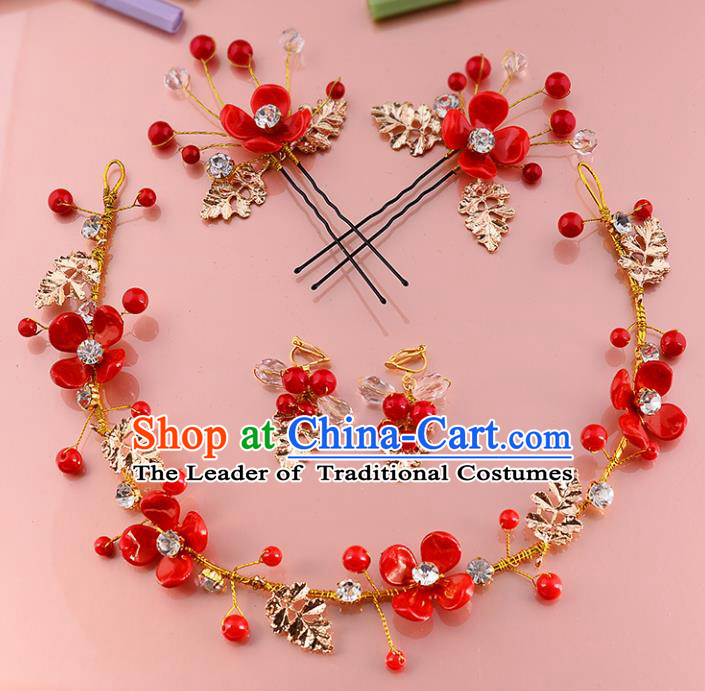 Top Grade Handmade Chinese Classical Hair Accessories Xiuhe Suit Wedding Toast Hair Clasp Headband Bride Headwear for Women