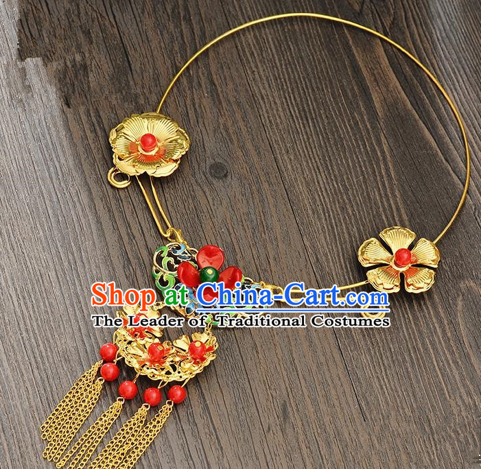 Top Grade Handmade Chinese Classical Jewelry Accessories Xiuhe Suit Wedding Necklace Bride Golden Flowers Tassel Collar Necklet for Women