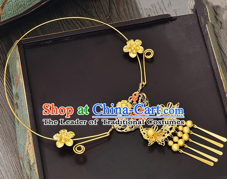 Top Grade Handmade Chinese Classical Jewelry Accessories Xiuhe Suit Wedding Necklace Bride Golden Tassel Collar Necklet for Women