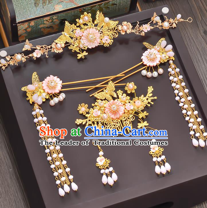 Traditional Handmade Chinese Ancient Wedding Hair Accessories Xiuhe Suit Pink Flowers Pearls Tassel Step Shake Complete Set, Bride Hanfu Hairpins Hair Sticks Hair Jewellery for Women