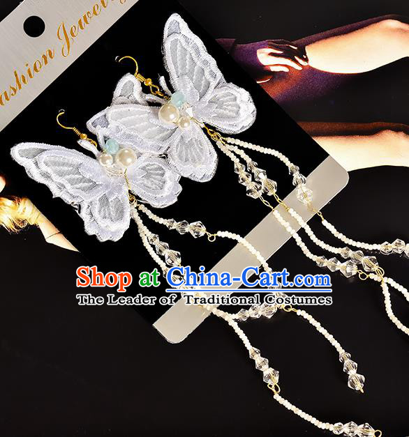 Top Grade Handmade Chinese Classical Jewelry Accessories Princess Wedding Earrings Bride Lace Butterfly Eardrop for Women