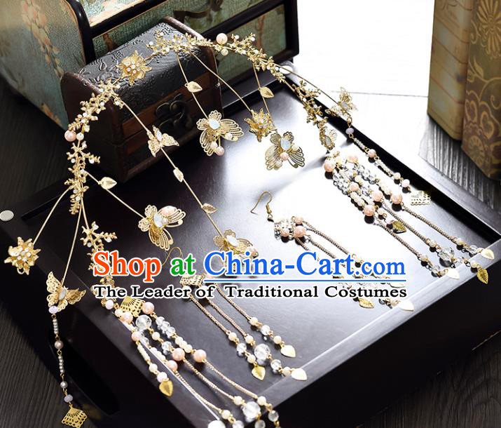 Traditional Handmade Chinese Ancient Classical Hair Accessories Xiuhe Suit Butterfly Tassel Hairpin Opal Phoenix Coronet Complete Set, Step Shake Hair Sticks Hair Jewellery for Women