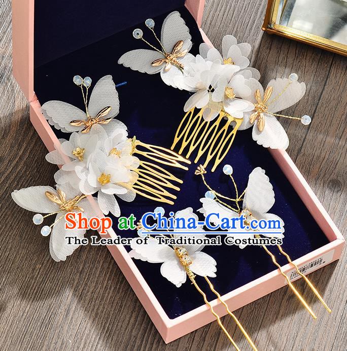 Top Grade Handmade Chinese Classical Hair Accessories Baroque Style Wedding Butterfly Hair Stick Headband Bride Hair Comb for Women