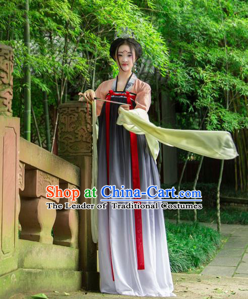 Traditional Chinese Tang Dynasty Imperial Consort Hanfu Printing Costume, China Ancient Slip Dress Palace Princess Peri Clothing for Women